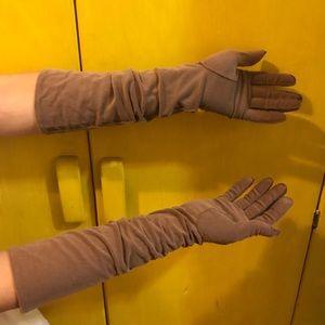 Vintage, light brown long evening gloves